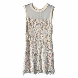 Kut Beige Lace Mid Length Dress Sleeveless 6